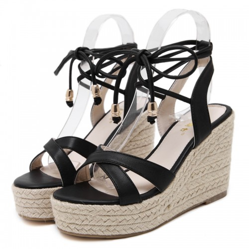 MAKEGSI Womens Jute-Rope Middle Wedge Heel Summer Shoes Flip Sandals Lace Up